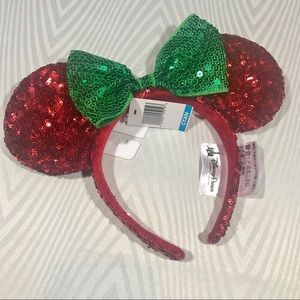 Disney Mouse Ears Christmas Sequin Holiday Red